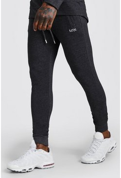 Mens Charcoal MAN Active Skinny Fit Joggers