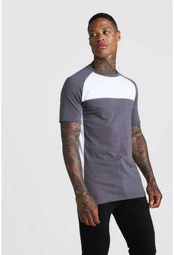 Mens Charcoal Man Active Muscle Fit Raglan T-Shirt