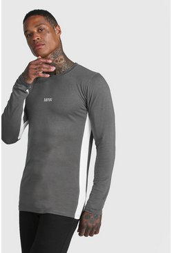 Mens Grey MAN Active Colour Block Long Sleeve T-Shirt