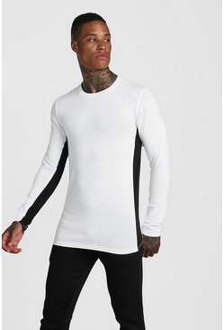 Mens White MAN Active Colour Block Long Sleeve T-Shirt