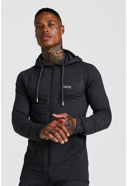 Mens Charcoal MAN Active Muscle Fit Zip Through Hoodie