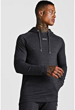 Mens Charcoal MAN Active Longline Hoodie