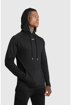 Black MAN Muscle Fit Active Hoodie