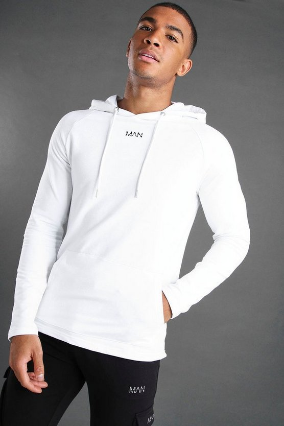 White MAN Muscle Fit Basic Active Hoodie