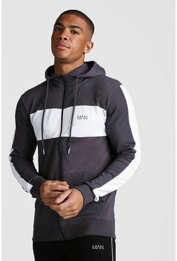Charcoal MAN Colour Block Panelled Zip Through Hoodie