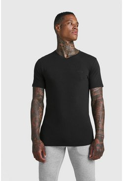 Black MAN Muscle Fit Short V Neck T-Shirt