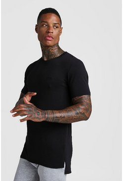 Mens Black MAN Muscle Fit Step Hem T-Shirt