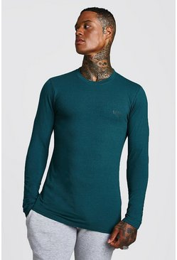 Mens Teal Long Sleeve MAN Muscle Fit T-Shirt