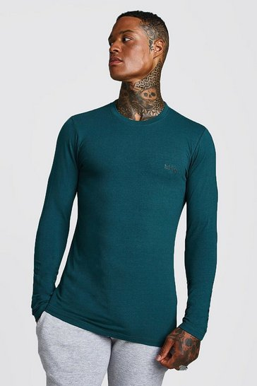 Teal Long Sleeve MAN Muscle Fit T-Shirt