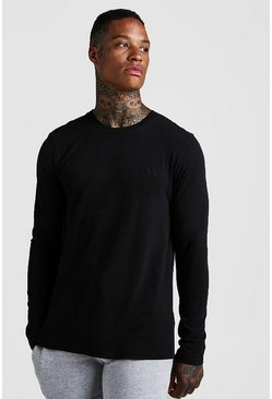 Mens Black Long Sleeve MAN Muscle Fit T-Shirt