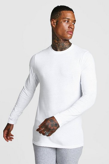 White Long Sleeve MAN Muscle Fit T-Shirt