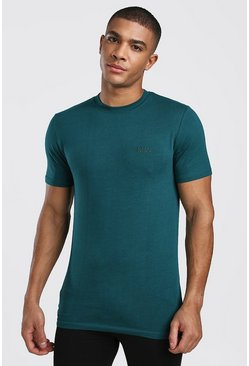 Mens Teal Short Sleeve MAN Muscle Fit T-Shirt