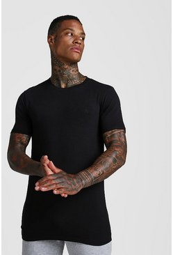 Mens Black MAN Muscle Fit Longline Rolled Sleeve T-Shirt