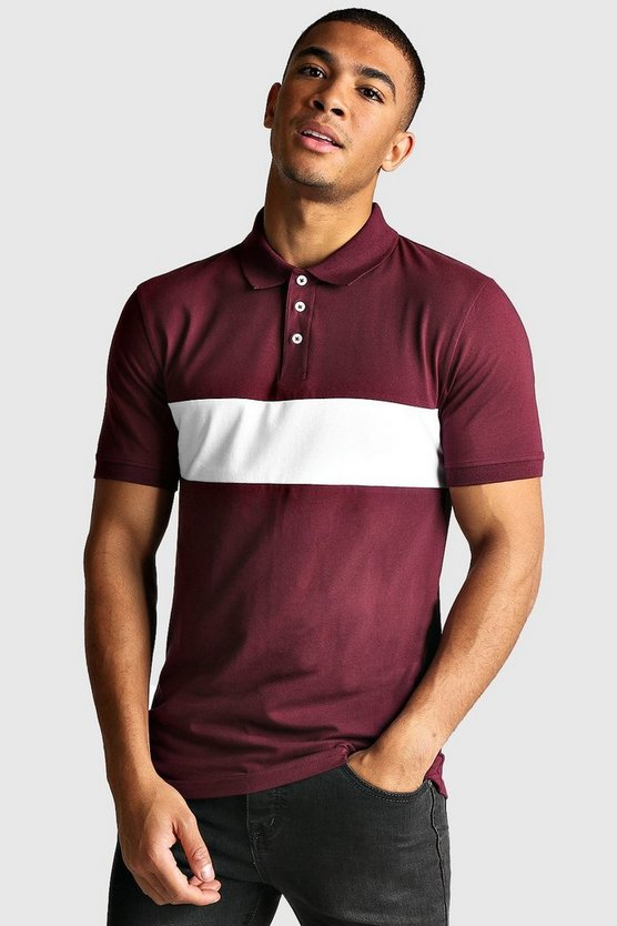 Burgundy Colour Block Muscle Fit Polo