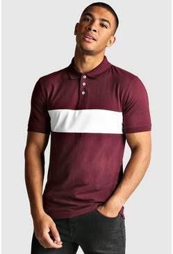Mens Burgundy Colour Block Muscle Fit Polo