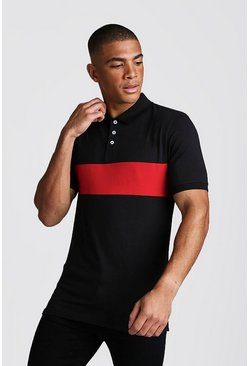Mens Red Colour Block Muscle Fit Polo