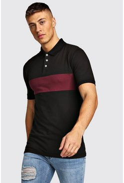 Mens Black Colour Block Muscle Fit Polo