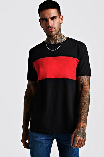 Mens Red Colour Block T-Shirt