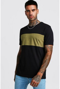 Mens Khaki Colour Block T-Shirt
