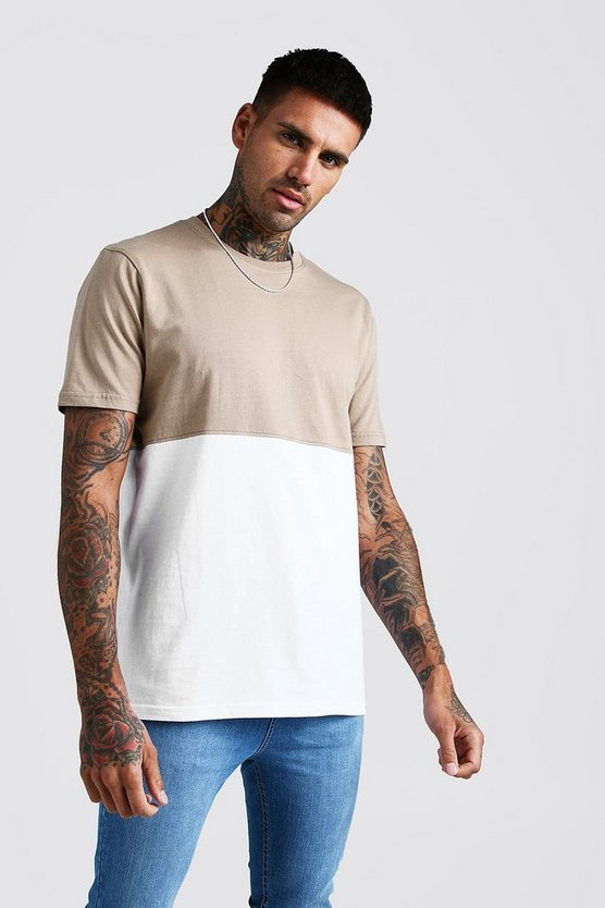 Mens Taupe Colour Block T-Shirt