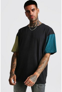 Mens Black Oversized T-Shirt In Colour Block