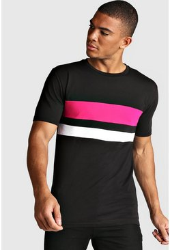 Muscle-Fit T-Shirt im Colorblock-Design, Neon-pink, Herren