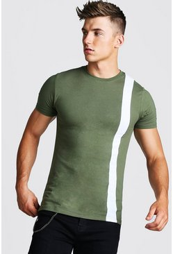 Mens Khaki Muscle Fit Colour Block T-Shirt