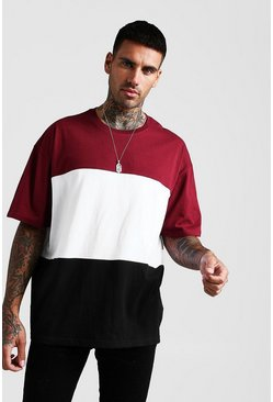 Mens Burgundy Oversized Colour Block T-Shirt