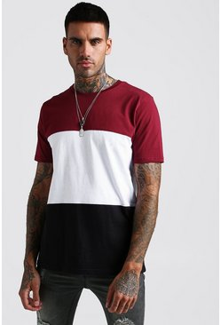Mens Burgundy Colour Block T-Shirt