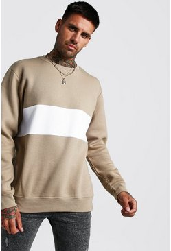 Taupe Colour Block Sweatshirt