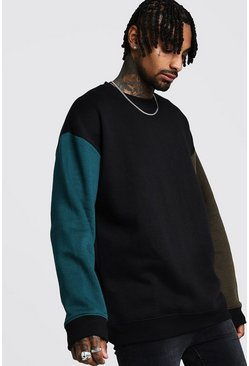 Mens Black Oversized Sweater In Colour Block