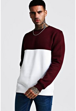 Herr Wine Colour Block Sweater