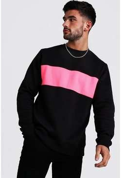 Neon-pink Colour Block Sweater