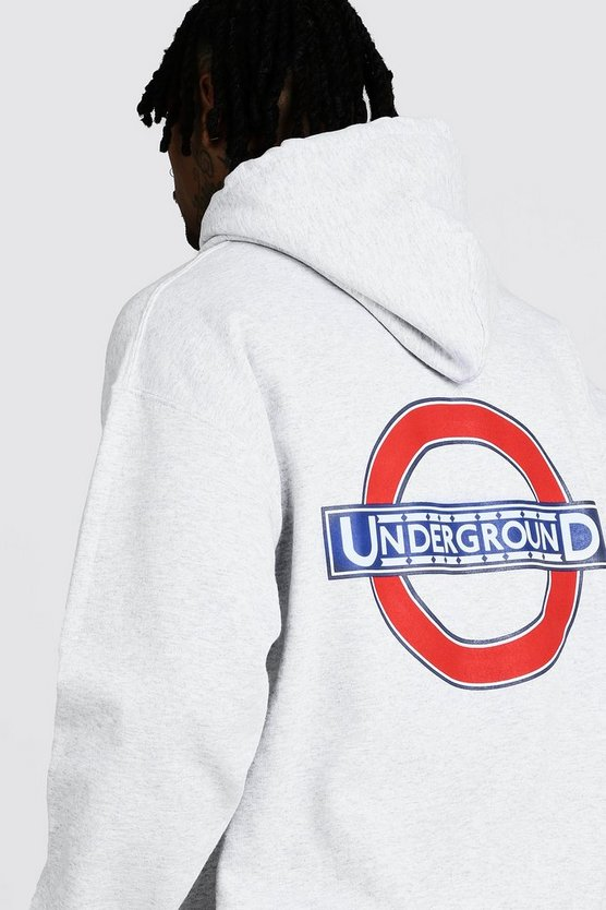 Grey London Underground Back Print License Hoodie