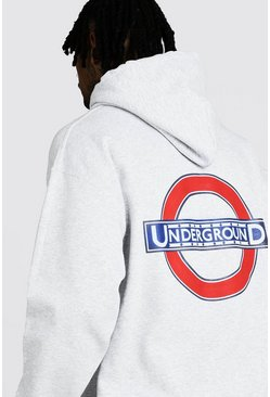 Mens Grey London Underground Back Print License Hoodie