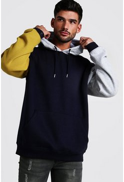 Sweat à capuche oversize colorblock à enfiler , Marine, Homme