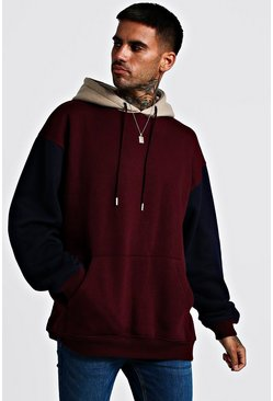 Mens Burgundy Oversized Colour Block Hoodie