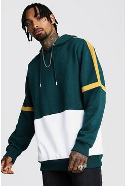 Mens Teal Oversized Colour Block Hoodie