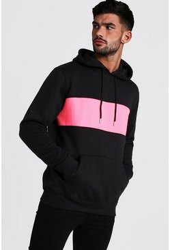 Mens Neon-pink Colour Block Hoodie