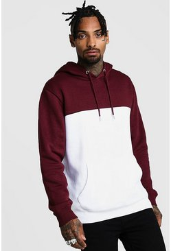 Wine Colour Block Hoodie