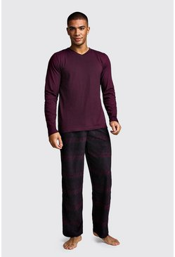 Herr Wine Polar Fleece Long Sleeve Lounge Set