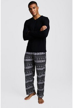 Mens Black Polar Fleece Long Sleeve Lounge Set