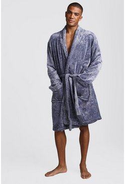 Shawl Collar Fleece Robe, Navy, HOMBRE