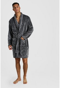 Shawl Collar Fleece Robe, Charcoal, HOMBRE