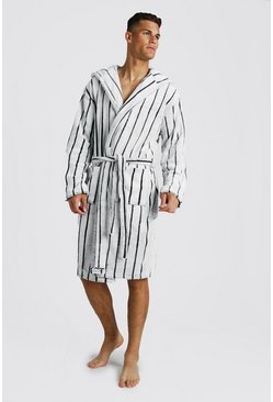 Stripe Hooded Robe, Grey, HOMBRE