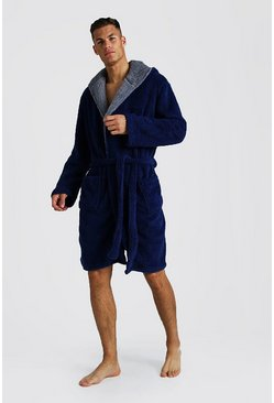 Shaggy Fleece Hooded Robe, Navy, HOMBRE