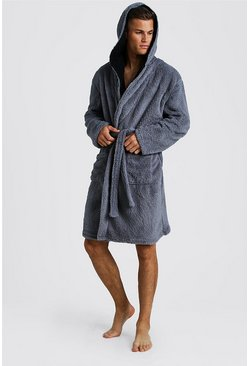Mens Charcoal Shaggy Fleece Hooded Robe