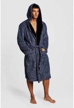 Two-Tone Supersoft Hooded Fleece Robe, Navy, HOMBRE
