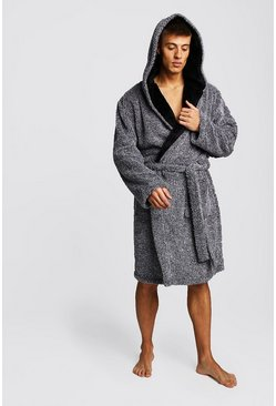 Mens Grey Two-Tone Supersoft Hooded Fleece Robe