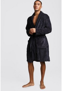 Mens Charcoal Fleece Gown